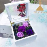 Hot sale Preserved rose flower music box with lighting