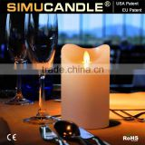 realistic flameless wax pillar candles led for Christmas decoration with EU and USA patent Promotional remote