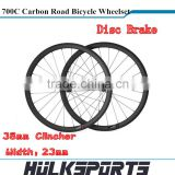Wholesale Disc Brake Road bicycle wheels 700c full carbon road bike Clincher wheel 38mm carbon Clincher wheel wheelset