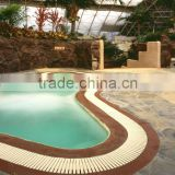 Overflow grating in swimming pool with receptable frame