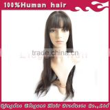 AAAAA Grade Natural Hair Line Peruvian Remy Full Lace Silky Straight Human Hair Wig with bang