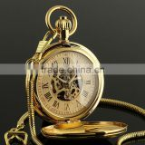 Golden Gold Antique Skeleton Mechanical Wholesale Pocket Watch WP137