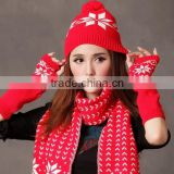 wholesale 2013 cheap women's fitted knitted beanie hat Gloves and scarf
