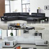Latest Design Elegant Living Room Furniture Black and White Leather Sectional Sofa Set                                                                         Quality Choice