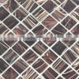 "0.8""x0.8"" brown gold leaf mosaic for metal coating mosaic tile hotel decoration"