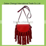 Manual simple design ladies pu crossbody bag with tassels                                                                         Quality Choice