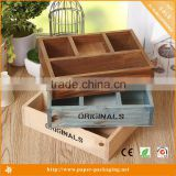 High Quality Wood Tray Wooden Box with Dividers for Mini Succulent Plant