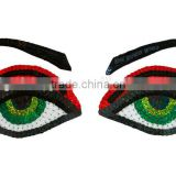 Custom Bitchface femme fatale eyes sequin patch/sexy eye patch/fashion sequin applique patch                                                                         Quality Choice