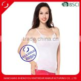 Custom high quality cotton spandex plain white women stringer tank top with lace macrame