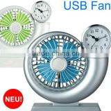 2014 new Usb Fan With Led Clock 5v 2.5w Usb Fan With Led Clock