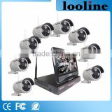 Looline Shenzhen Camera 3PCS IR Array Fixed Lend 3.6mm 8Ch 960P IP66 Waterproof Cameras Wifi NVR With 10Inch LCD Screen Kits