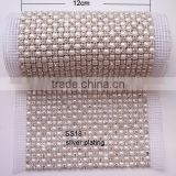 (M0458) 24 row crystal and pearl mesh trimming with SS 18 stones in silver or gold plating,MOQ:1yard