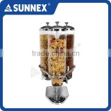 SUNNEX Professional Revolving Transparent Container ideal for Buffet Service 4ltr x 3 Catering Dry Food Dispenser