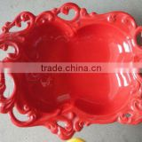 YT-stock cermaic low pices,red cermic fruit decoration,redUnique modern red carving ceramic red plate popular Hollow plate