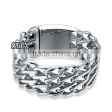 Punk style 316L stainless steel mens 32mm heavy thick silver mesh chunky curb chain bracelet                                                                                                         Supplier's Choice