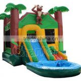 jungle inflatable bouncy castle, custom jumping castle with water slide                                                                         Quality Choice