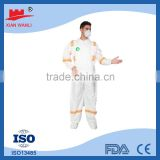 Chemical Protective Uniform Type 4/5/6 SMS/microporous working safety disposable coverall from factory directly