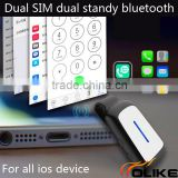 New Hot Bluetooth Dual SIM Cards Adapter with Clip Expansion SIM Card Slot for iphone 5 / 5s i phone6 Sim Card Tool
