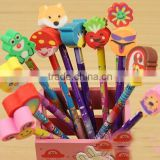 Best Amazon promotion gift DIY creative stationery kids Novelty colorful pencil with cartoon animal shaped rubber eraser topper