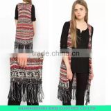 Women's knitted sweater vest, cardigan sleeveless sweater vest with fringe