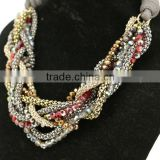Luxuriant Style Multi Rows Crystal And Mesh Chain Interweave Pu Leather Necklace