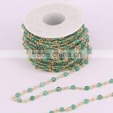 Green Agate Faceted Round Bead Rosary style Chain, Gold Plated Wire Wrapped Chain Necklace bracelet Jewelry Findings