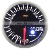 52mm smoke lens/ super white & amber LED Air / Fuel Ratio gauge with warning & peak recall