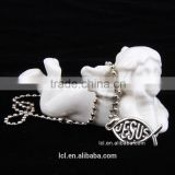 Fashion imitation jewelry necklace, antique imitation silver religious bead necklace with fish pendant
