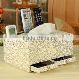 wholesale custom manufacturers selling leather tissue box, multi-function drawer storage box