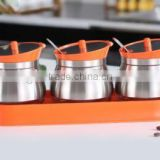 wholesale glass spice jar with spoon and metal coating orange