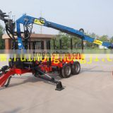 New designed Forestry machine 10 ton Log trailer with crane