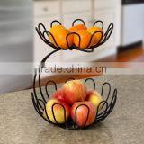 High Quality Black Wire Flower Shape 2 Tier Fruit Basket