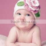 fashion princess grils hat two leafs with big flower woollen yarn hat