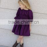 Hot sale baby kids ruffle purple gowns and dresses 3/4 sleeves Christmas kids baby dress girls