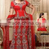 Most Beautiful Lehenga Embellished Bridal Dress Designer Red Indian Wedding Dress Attractive Mermaid Style Wedding Gown Dress