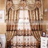European style living room curtain, luxury embroidery curtains fabric with valance