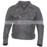 HMB-0471A LEATHER JACKETS MOTORBIKE COATS BLACK BIKER STYLE