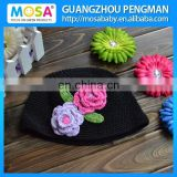 Wholesale Children Girl Black Beanie With Hot Pink And Lavender Flowers Toddler Girl Knitted Hat