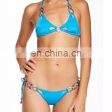 Cutouts Triangle Top Halter Straps with Metal Pave Bikini Set Swimsuit