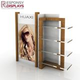 Fashion Design Counter Table Wood and Acrylic Glasses Display Rack With Poster