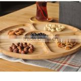 Bamboo Hotel Round Dessert Serving Tray with 5-divisions