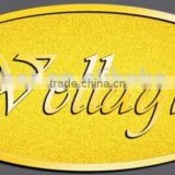 zinc alloy gold plated color word projected name plate trademark label sticker sheet for furniture