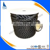 nylon polyester 3 strand twisted black anchor rope line cord for mooring