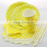Eco-friendly Party Paper Plates Cups Napkins Bags Straws Yellow Polka Dot Tableware for Wedding Birthday Decor