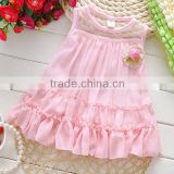wholesale pink 100% cotton kids dress,little girls long dress,baby girls one piece dresses,girls smocked dress
