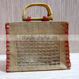 Bamboo handle shopping bag