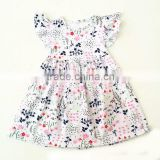 Latest style floral print girls summer dresses flutter sleeve dress for baby girl childrens boutique dress