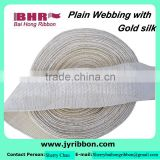 Gold silk polyester webbing 40mm width twill band for binding
