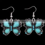Fashion Design Wholesale Cheap Jewelry Turquoise Crystal Butterfly Shape Dangling Antique Silver Hook Earrings Girlfrend Gift