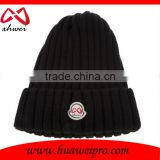 Custom Logo and Branded long knitted beanie hat cotton and acrylic plain beanie cap wholesale